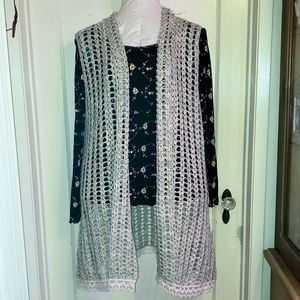 NWOT Grey Silver crochet and lace tunic duster 1X